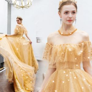 Charming Gold Evening Dresses  2019 A-Line / Princess Scoop Neck Beading Crystal Sequins Lace Flower Short Sleeve Backless Floor-Length / Long Formal Dresses