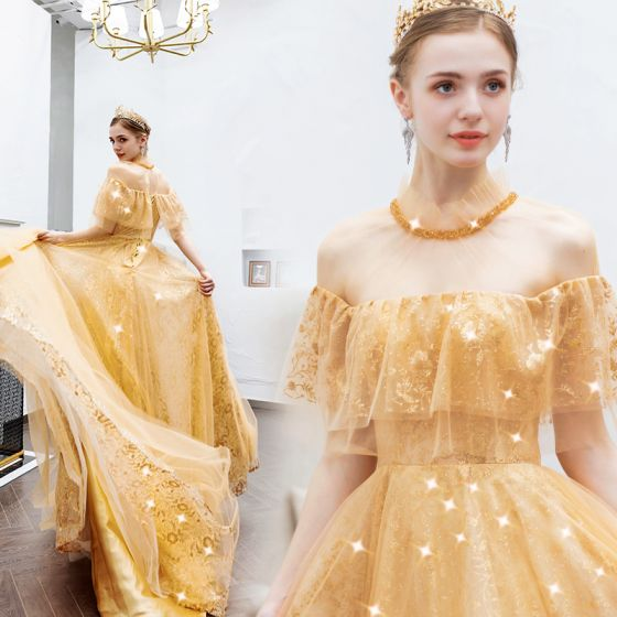 Charming Gold Evening Dresses  2019 A-Line / Princess Scoop Neck Beading Crystal Sequins Lace Flower Short Sleeve Backless Floor-Length / Long Formal Dresses
