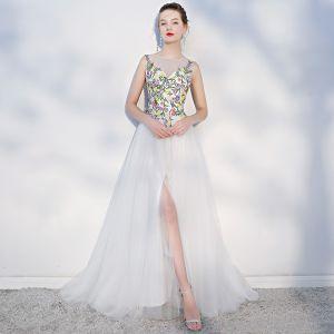 Elegante Multifarben Strand Brautkleider 2018 A Linie Applikationen Rundhalsausschnitt Rückenfreies Ärmellos Gespaltete Front Sweep / Pinsel Zug Hochzeit