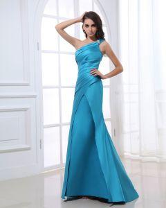 One Shoulder Ärmellose Zipper Plissee Perlen Bodenlangen Satin Abendkleid Frau