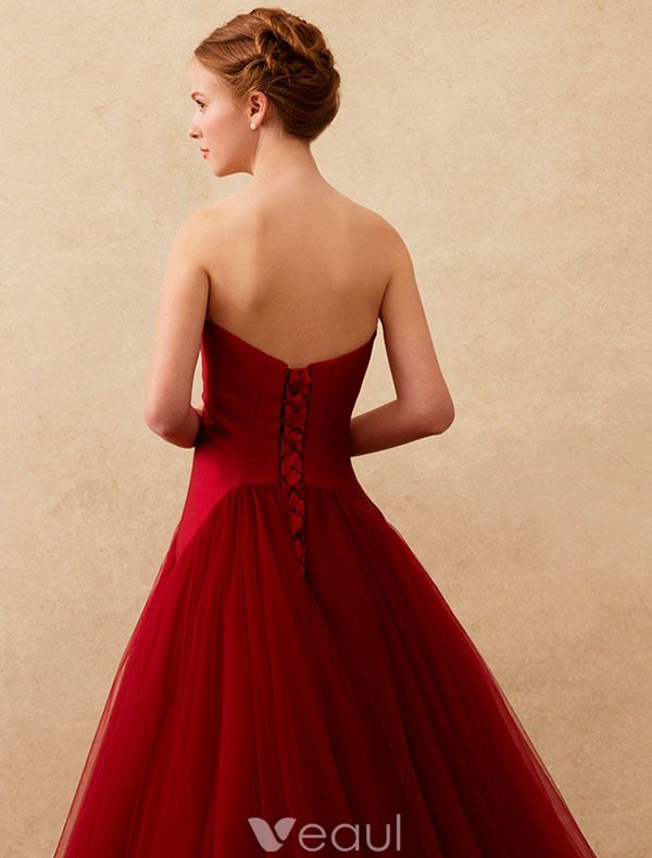 Simple Prom Dresses 2016 Strapless Backless Burgundy Tulle Long Prom Dress