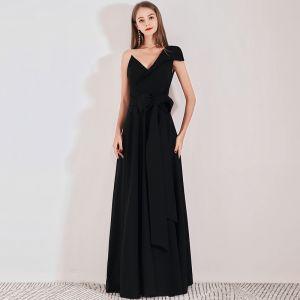 Modest / Simple Black Evening Dresses  2019 A-Line / Princess One-Shoulder Cap Sleeves Floor-Length / Long Ruffle Backless Formal Dresses
