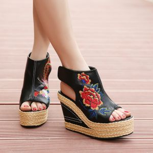 Ethnic Black Casual Braid Embroidered Womens Shoes 2020 Leather 11 cm Wedges Open / Peep Toe Sandals