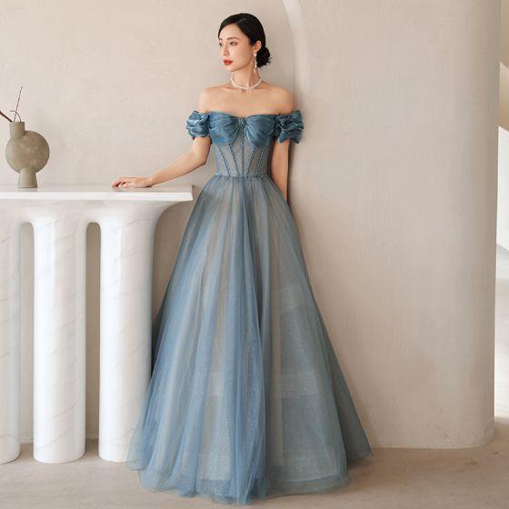 Sexy Azul Vestidos de gala 2021 A-Line / Princess Ruffle Fuera Del Hombro Rhinestone Manga Corta Sin Espalda Largos Vestidos Formales