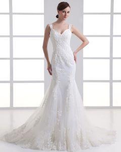 Tüll Rüschen Schulter Hofzug Mermaid Brautkleid