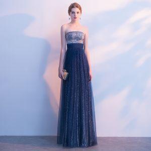 Błyszczące Granatowe Gwiaździste Niebo Sukienki Wieczorowe 2017 Princessa Cekinami Rhinestone Bez Ramiączek Bez Pleców Bez Rękawów Długie Sukienki Wizytowe