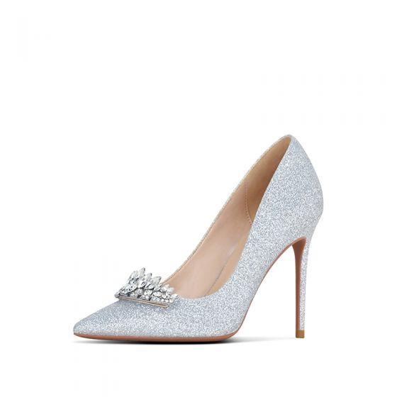 Brillante Plata Rhinestone Zapatos de novia 2020 Glitter Lentejuelas 10 cm Stilettos / Tacones De Aguja Punta Estrecha Boda Tacones
