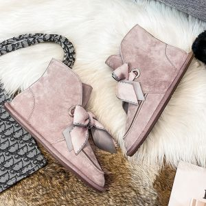Lovely Butterfly Blushing Pink Snow Boots 2020 Woolen Leather Casual Outdoor / Garden Winter Flat Round Toe Suede Womens Boots