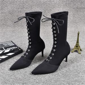 Moda Invierno Negro Ropa de calle Botas de mujer 2020 Mitad De La Pantorrilla Cuero 7 cm Stilettos / Tacones De Aguja Punta Estrecha Botas