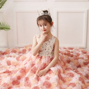 Fabulous Pearl Pink Flower Girl Dresses 2019 A-Line / Princess Scoop Neck Sleeveless Beading Pearl Flower Tulle Sweep Train Ruffle Wedding Party Dresses