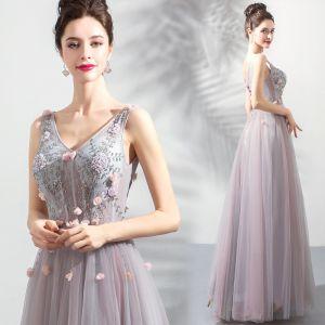 Elegante Rosa Ballkleider 2019 A Linie V-Ausschnitt Perlenstickerei Perle Kristall Applikationen Ärmellos Rückenfreies Lange Festliche Kleider