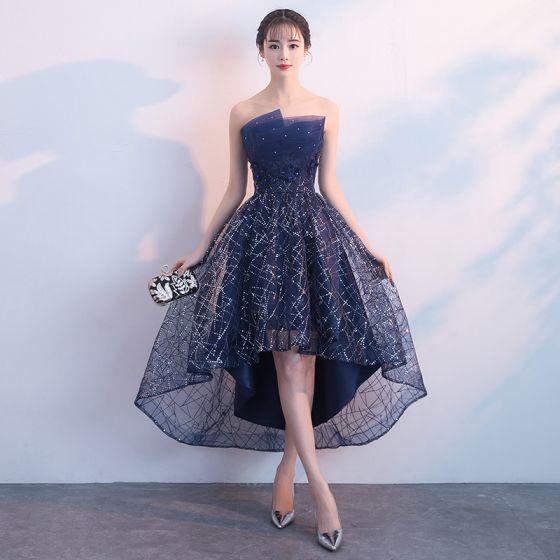 Bling Bling Granatowe Sukienki Koktajlowe 2018 Princessa Bez Ramiączek Bez Rękawów Cekinami Cekiny Kryształ Rhinestone Asymetryczny Wzburzyć Bez Pleców Sukienki Wizytowe