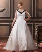 A-Line V Neck Sweep Sleeveless Embroidery Satin Plus Size Wedding Dress