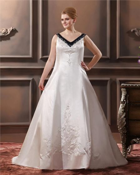 A-Line V Neck Sweep Sleeveless Embroidery Satin Plus Size Wedding Dress