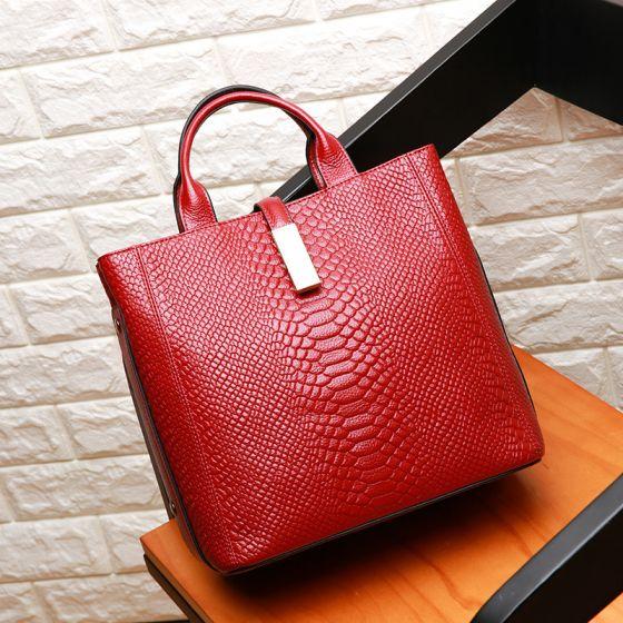 Mode Burgunderrot Quadratische Umhängetasche Handtasche Schultertaschen 2021 Krokodilmuster Leder Damentaschen