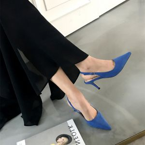 Modest / Simple Royal Blue Office OL Slingbacks Womens Sandals 2020 Suede 10 cm Stiletto Heels Pointed Toe Sandals