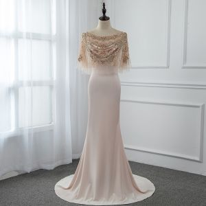 High-end Champagne See-through Evening Dresses  With Shawl 2019 Trumpet / Mermaid Scoop Neck Sleeveless Handmade  Beading Sweep Train Ruffle Formal Dresses