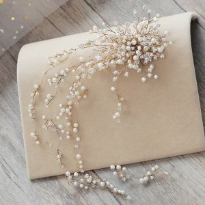 Luxury / Gorgeous Beige Headpieces 2019 Metal Pearl Rhinestone Wedding Accessories