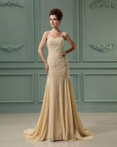 Strapless Sleeveless Zipper Floor Length Chiffon Woman Mermaid Wedding Dress