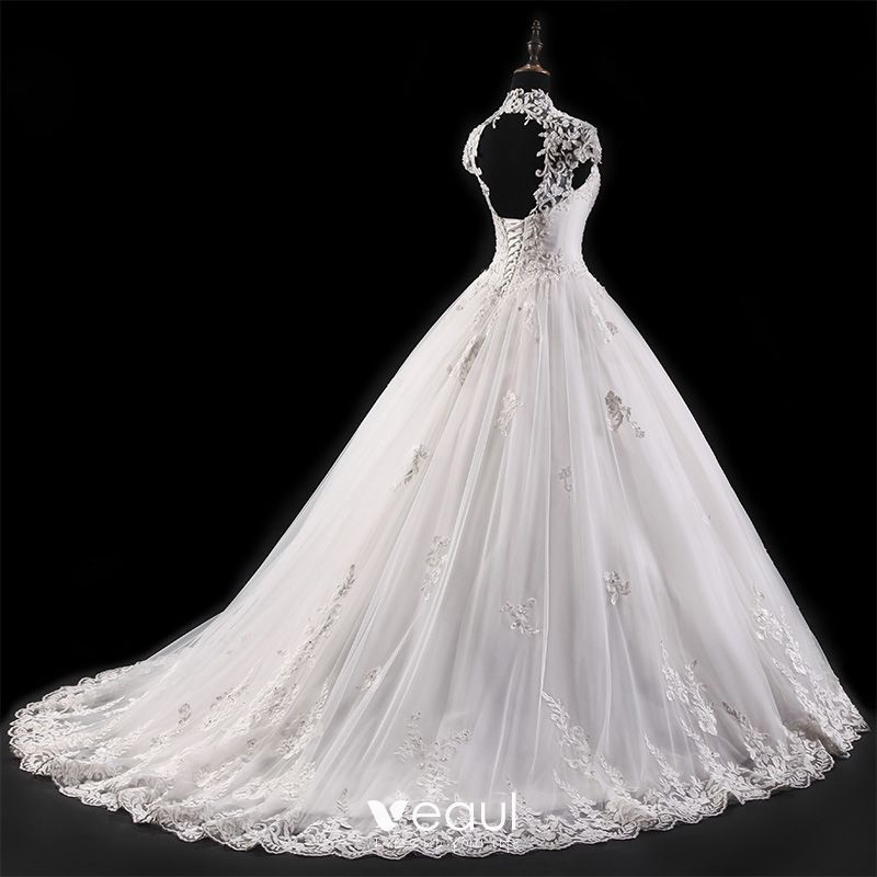 White Wedding Video: Vintage White Wedding Dresses 2017 Ball Gown Pierced High