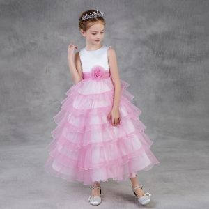 Chic / Beautiful Candy Pink Flower Girl Dresses 2018 A-Line / Princess Scoop Neck Sleeveless Flower Sash Ankle Length Cascading Ruffles Wedding Party Dresses
