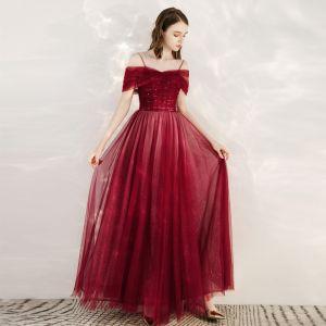 Piękne Czerwone Sukienki Wieczorowe 2020 Princessa Przy Ramieniu Kótkie Rękawy Frezowanie Cekinami Tiulowe Długie Wzburzyć Bez Pleców Sukienki Wizytowe