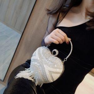 Fashion Silver Heart-shaped Clutch Bags 2020 Metal Rhinestone Tassel