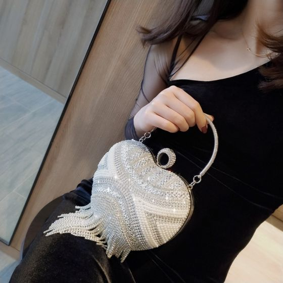 Fashion Silver Heart-shaped Clutch Bags 2020 Metal Rhinestone Tassel