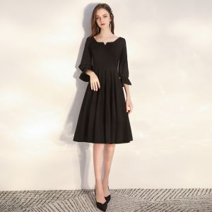 Niedrogie Czarne Homecoming Sukienki Na Studniówke 2020 Princessa Kwadratowy Dekolt Bufiasta 3/4 Rękawy Długość do kolan Wzburzyć Bez Pleców Sukienki Wizytowe