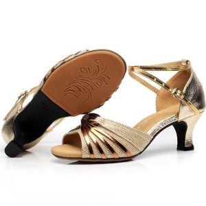 Modern / Fashion Gold Latin Dance Shoes 2020 X-Strap 5 cm Dancing Prom Low Heels / Kitten Heels Sandals Womens Shoes