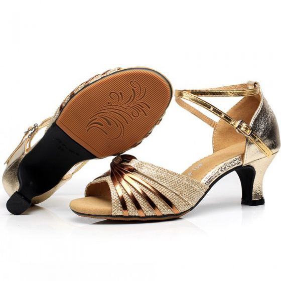 Modern / Fashion Gold Latin Dance Shoes 2020 X-Strap 5 cm Dancing Prom Low Heels / Kitten Heels Sandals Womens Shoes