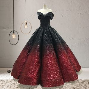 Sparkly Black Red Sequins Prom Dresses 2020 Ball Gown Off-The-Shoulder Short Sleeve Floor-Length / Long Ruffle Backless Formal Dresses