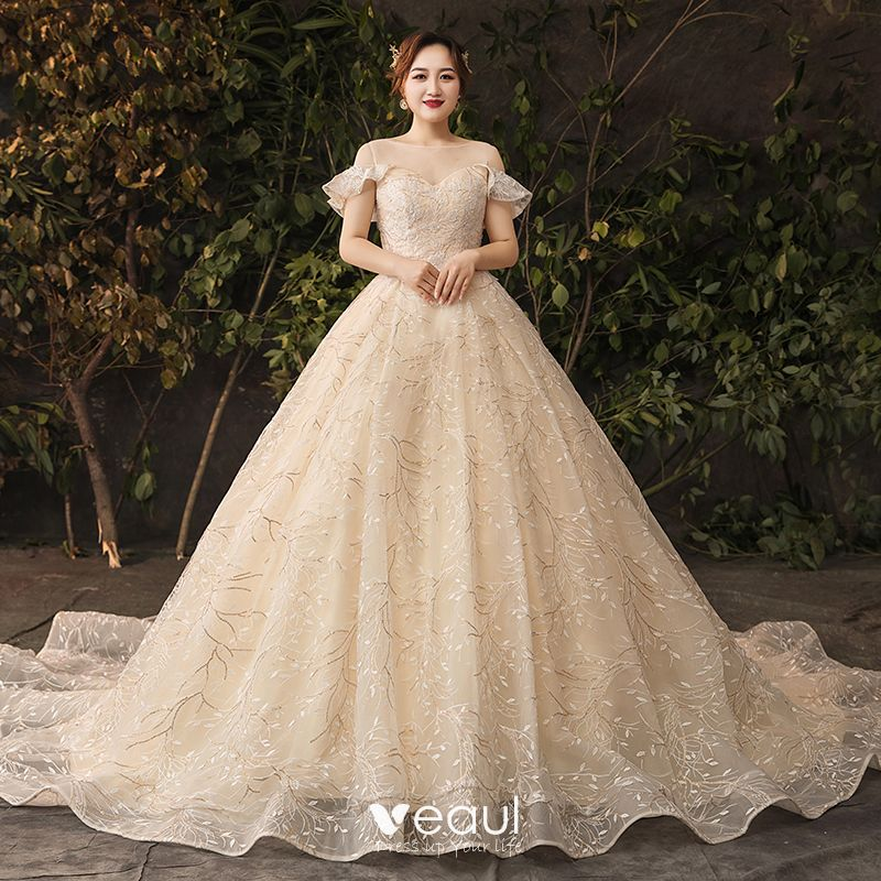 Sparkly Bling Bling Champagne Wedding Dresses 2019 A-Line / Princess Lace  Tulle Floral Plus Size Embroidered Glitter Sequins Strapless Chapel Train  ...