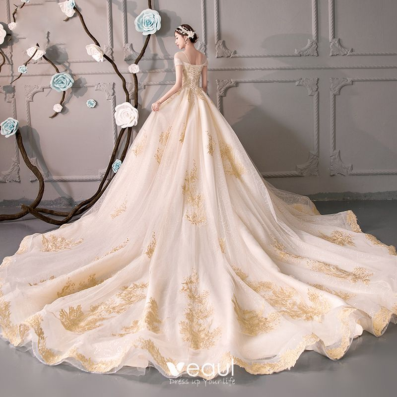 See Through Wedding Gown: Luxury / Gorgeous Champagne See-through Wedding Dresses