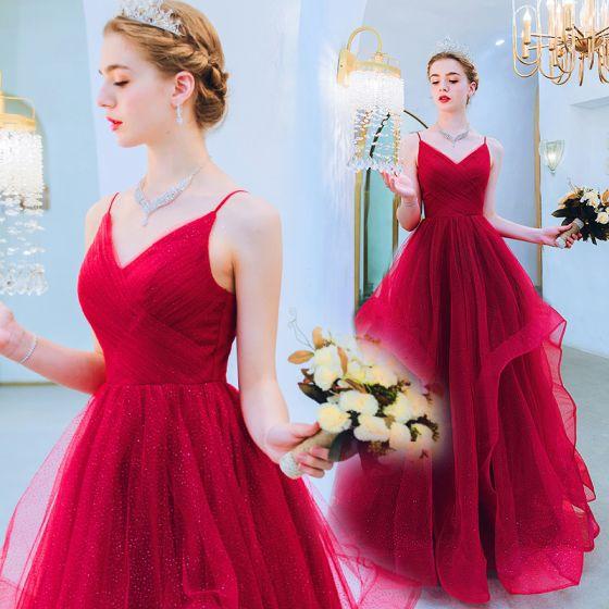 Piękne Czerwone Sukienki Wieczorowe 2019 Princessa Spaghetti Pasy Cekinami Tiulowe Bez Rękawów Bez Pleców Długie Sukienki Wizytowe