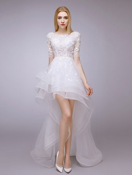 2015 A-line Square Neckline Beading & Lace  Summer Short Asymmetrical Wedding Dress