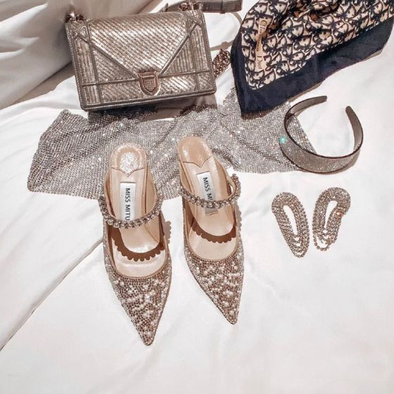 Sjarmerende Champagne Fest Sandaler Dame 2020 Lær Perle Rhinestone 8 cm Stiletthæler Spisse Sandaler