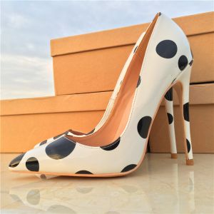 Chic / Beautiful White Dating Pumps 2019 Black Spotted Leather 12 cm Stiletto Heels Pointed Toe Pumps