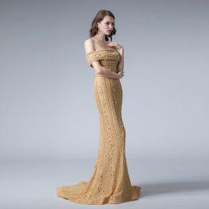 Elegante Gold Spitze Abendkleider 2019 Meerjungfrau Spaghettiträger Kurze Ärmel Perlenstickerei Sweep / Pinsel Zug Rückenfreies Festliche Kleider