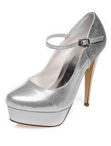 Sparkly Pumps Wedding Shoes With Ankle Strap 5 Inch Stiletto Heels With Platform Silver Bridal Shoes