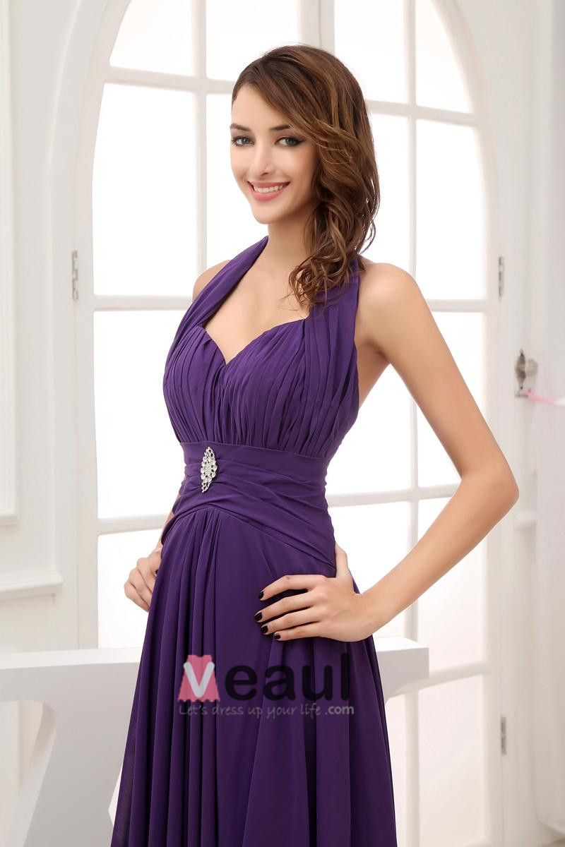 Chiffon Satin Silk Beading Ruffle Halter Sleeveless Backless Floor Length Pleated Evening Dress