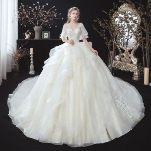 Victorian Style Ivory See-through Bridal Wedding Dresses 2020 V-Neck Ball Gown Puffy 1/2 Sleeves Backless Appliques Lace Beading Cathedral Train Ruffle