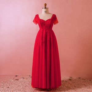 Chic / Beautiful Red Plus Size Evening Dresses  2018 A-Line / Princess U-Neck Tulle Lace Crossed Straps Appliques Backless Beading Summer Evening Party Formal Dresses