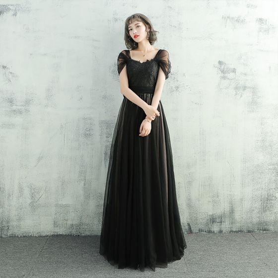 Chic / Beautiful Black Evening Dresses  2017 A-Line / Princess Lace Flower Sash Off-The-Shoulder Backless Sleeveless Floor-Length / Long Formal Dresses