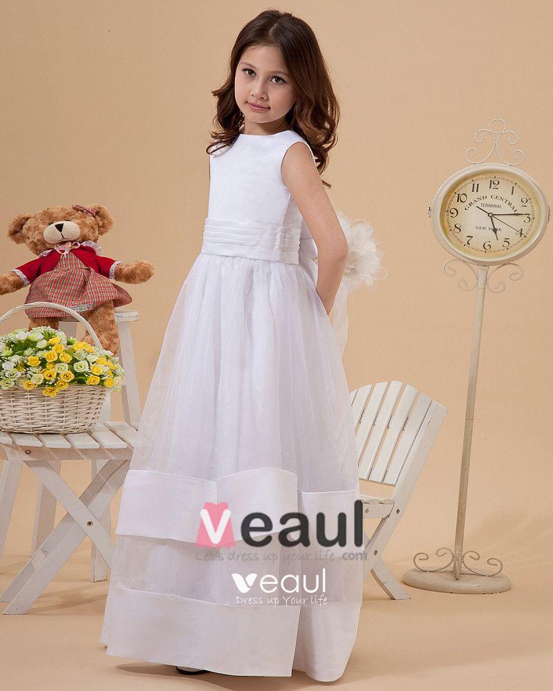 Cute A-Line Jewel Ankle-Length Organza Satin Flower Girl Dress