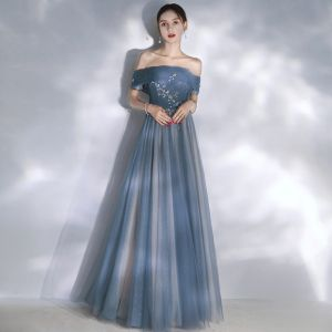 Elegant Ocean Blue Evening Dresses  2020 A-Line / Princess Off-The-Shoulder Short Sleeve Glitter Tulle Beading Floor-Length / Long Ruffle Backless Formal Dresses