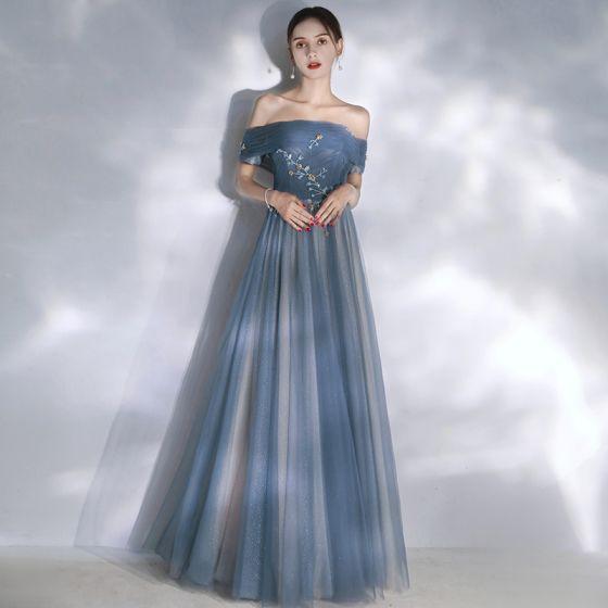Elegant Ocean Blue Evening Dresses  2020 A-Line / Princess Off-The-Shoulder Short Sleeve Glitter Tulle Beading Floor-Length / Long Ruffle Backless Formal Dresses