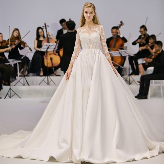 Chic / Beautiful Ivory Satin See-through Wedding Dresses 2020 A-Line / Princess Scoop Neck 3/4 Sleeve Backless Appliques Lace Cathedral Train Ruffle