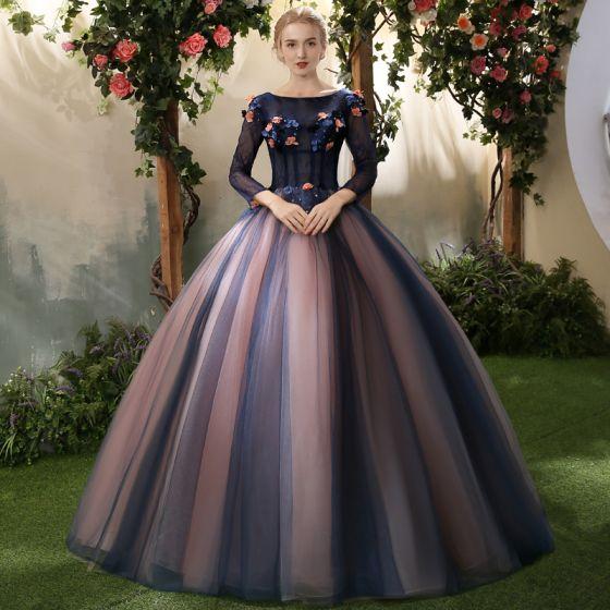 Elegant Royal Blue Quinceañera Prom Dresses 2018 Ball Gown Appliques Pearl Scoop Neck Backless 3/4 Sleeve Floor-Length / Long Formal Dresses