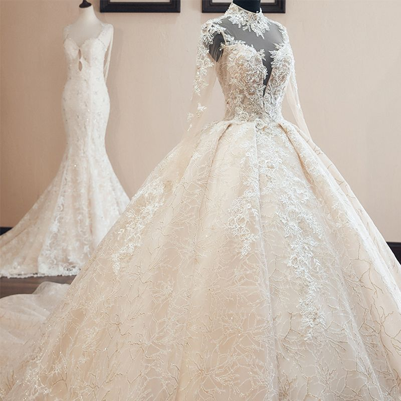 Luxury / Gorgeous Vintage / Retro Champagne See-through Wedding Dresses 2019 Audrey Hepburn Style Ball Gown High Neck Long Sleeve Backless Appliques Lace Beading Glitter Tulle Cathedral Train Ruffle